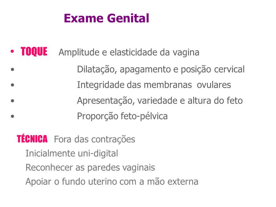 TÉCNICA Fora das contrações Inicialmente uni-digital Reconhecer as paredes vaginais Apoiar o fundo uterino com a mão externa Exame Genital •TOQUE Ampl