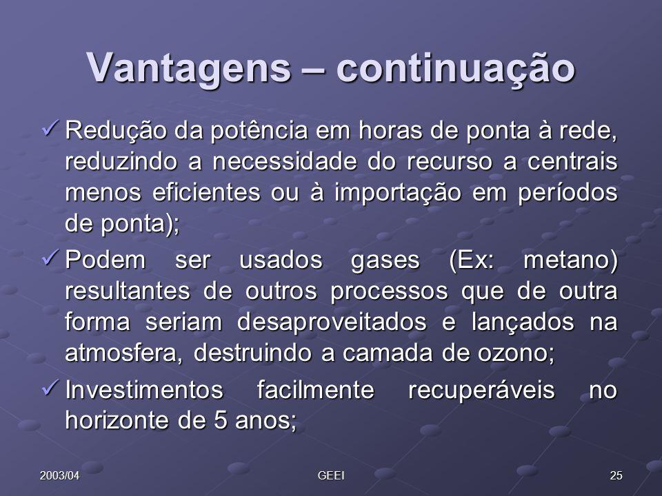 262003/04GEEI A co/trigeração em Portugal: Existem instalações de cogeração a funcionar desde há várias dezenas de anos em algumas indústrias, tendo aumentado significativamente o seu número a partir da publicação do DL 189/88.