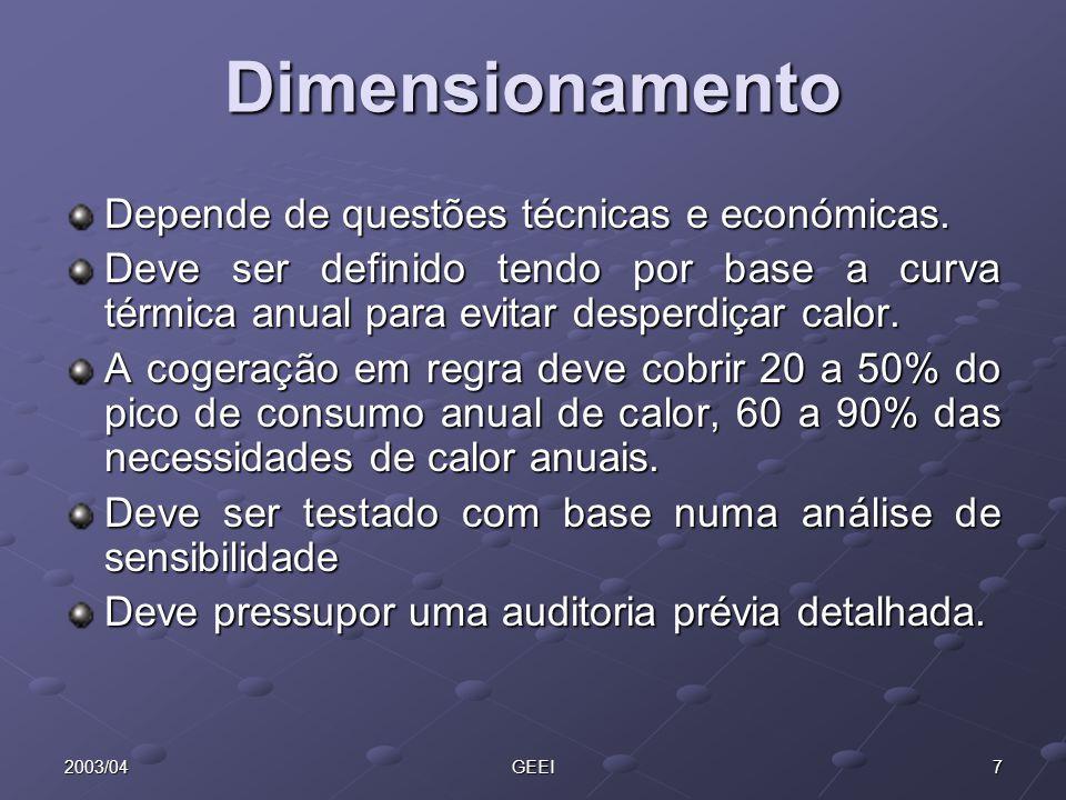 82003/04GEEI Exemplo de dimensionamento
