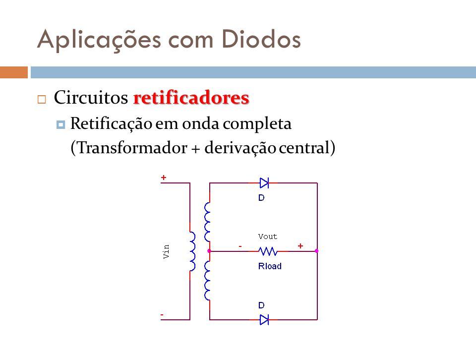 Aplicações com Diodos retificadores  Circuitos retificadores  Retificação em onda completa (Transformador + derivação central)