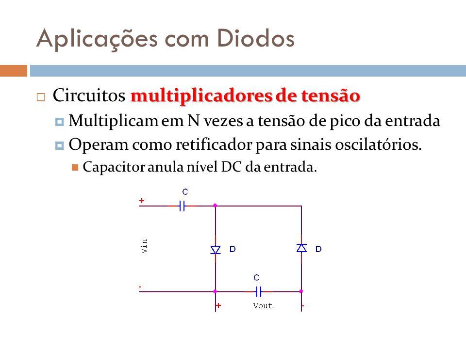 Aplicações com Diodos multiplicadores de tensão  Circuitos multiplicadores de tensão  Multiplicam em N vezes a tensão de pico da entrada  Operam co