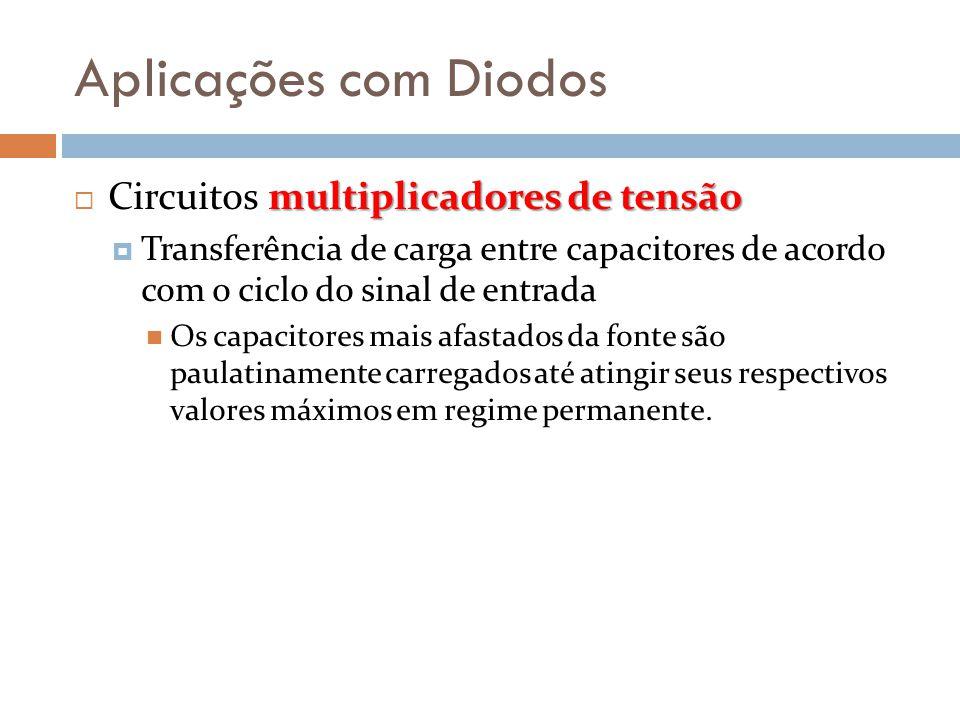 Aplicações com Diodos multiplicadores de tensão  Circuitos multiplicadores de tensão  Transferência de carga entre capacitores de acordo com o ciclo