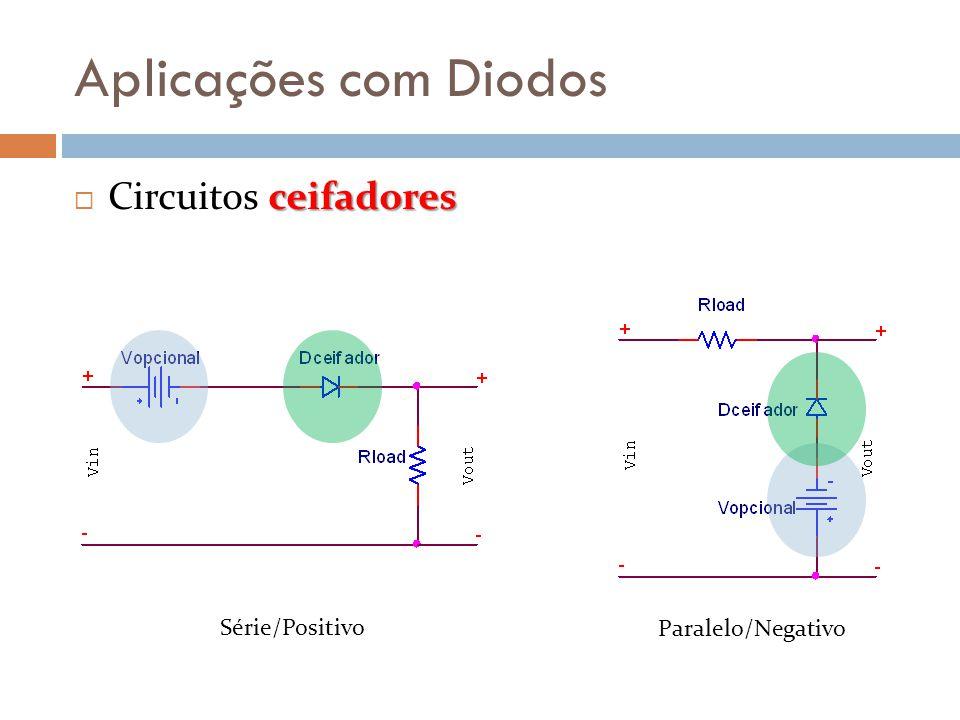Aplicações com Diodos ceifadores  Circuitos ceifadores Série/Positivo Paralelo/Negativo