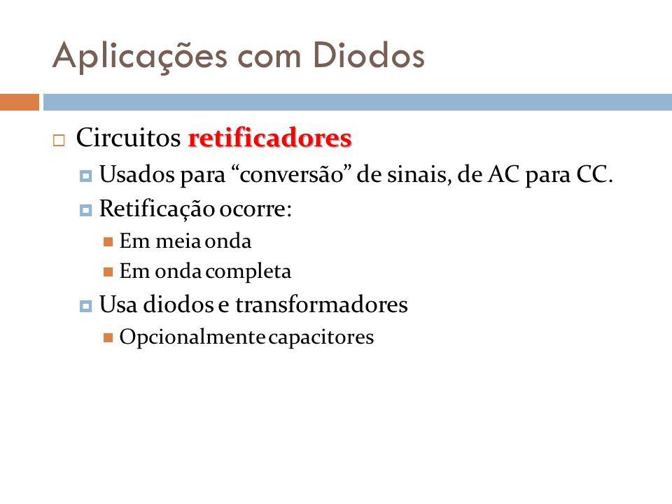 """Aplicações com Diodos retificadores  Circuitos retificadores  Usados para """"conversão"""" de sinais, de AC para CC.  Retificação ocorre:  Em meia onda"""