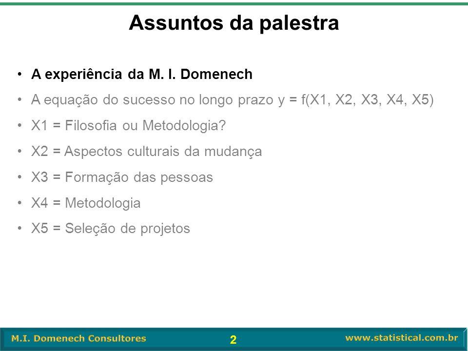 2 Assuntos da palestra •A experiência da M. I. Domenech •A equação do sucesso no longo prazo y = f(X1, X2, X3, X4, X5) •X1 = Filosofia ou Metodologia?