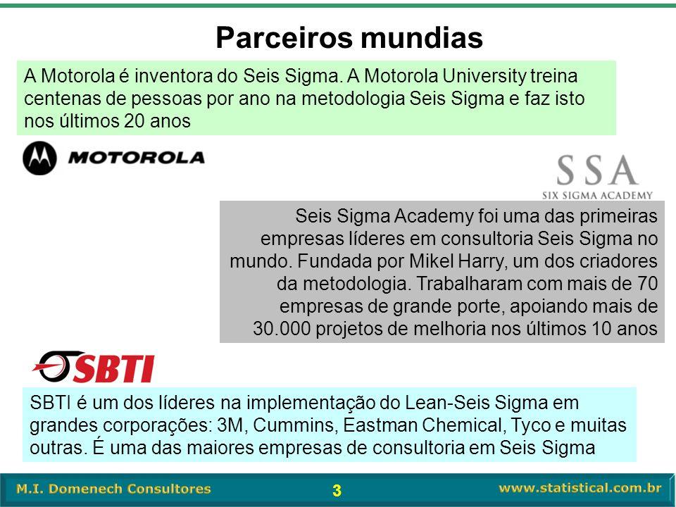 3 A Motorola é inventora do Seis Sigma. A Motorola University treina centenas de pessoas por ano na metodologia Seis Sigma e faz isto nos últimos 20 a