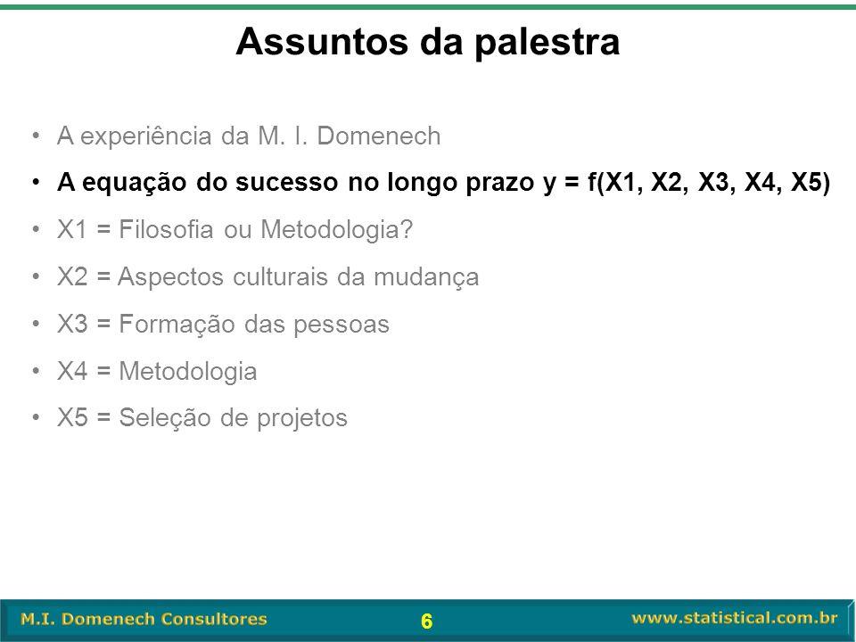 6 •A experiência da M. I. Domenech •A equação do sucesso no longo prazo y = f(X1, X2, X3, X4, X5) •X1 = Filosofia ou Metodologia? •X2 = Aspectos cultu
