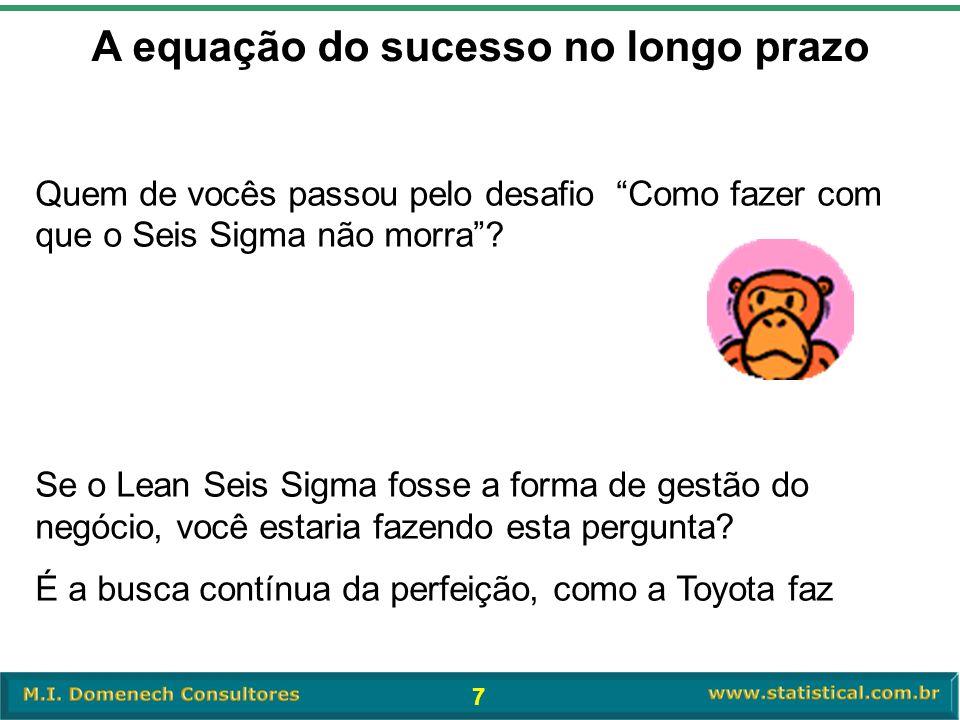 """7 A equação do sucesso no longo prazo Quem de vocês passou pelo desafio """"Como fazer com que o Seis Sigma não morra""""? Se o Lean Seis Sigma fosse a form"""