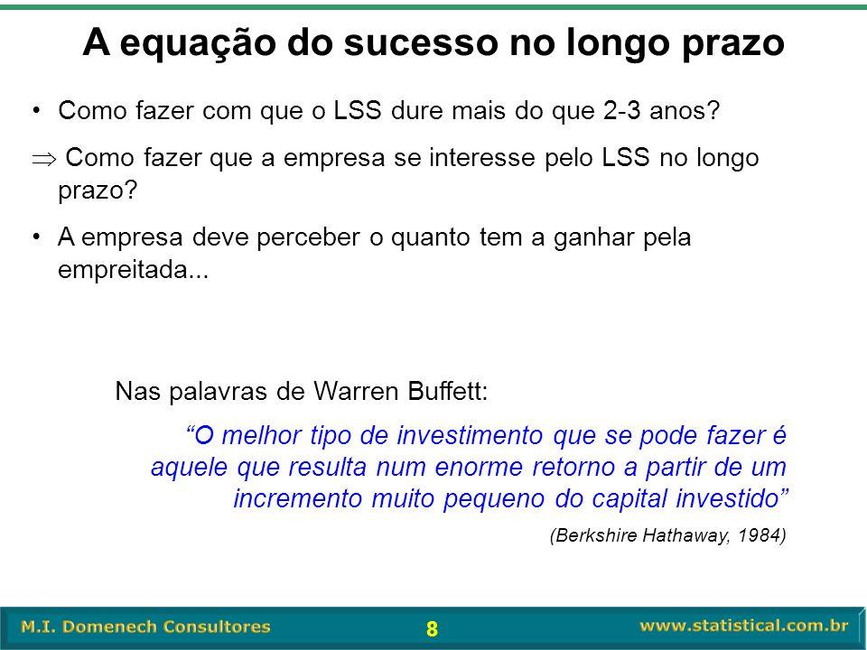 8 A equação do sucesso no longo prazo •Como fazer com que o LSS dure mais do que 2-3 anos?  Como fazer que a empresa se interesse pelo LSS no longo p