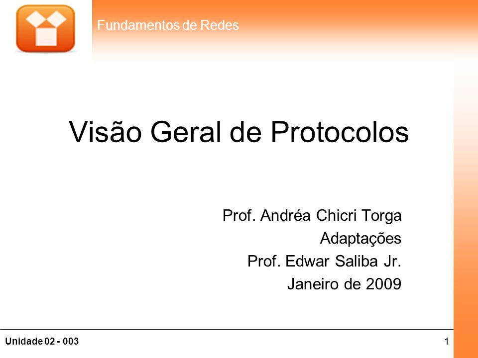 1Unidade 02 - 003 Fundamentos de Redes Visão Geral de Protocolos Prof. Andréa Chicri Torga Adaptações Prof. Edwar Saliba Jr. Janeiro de 2009
