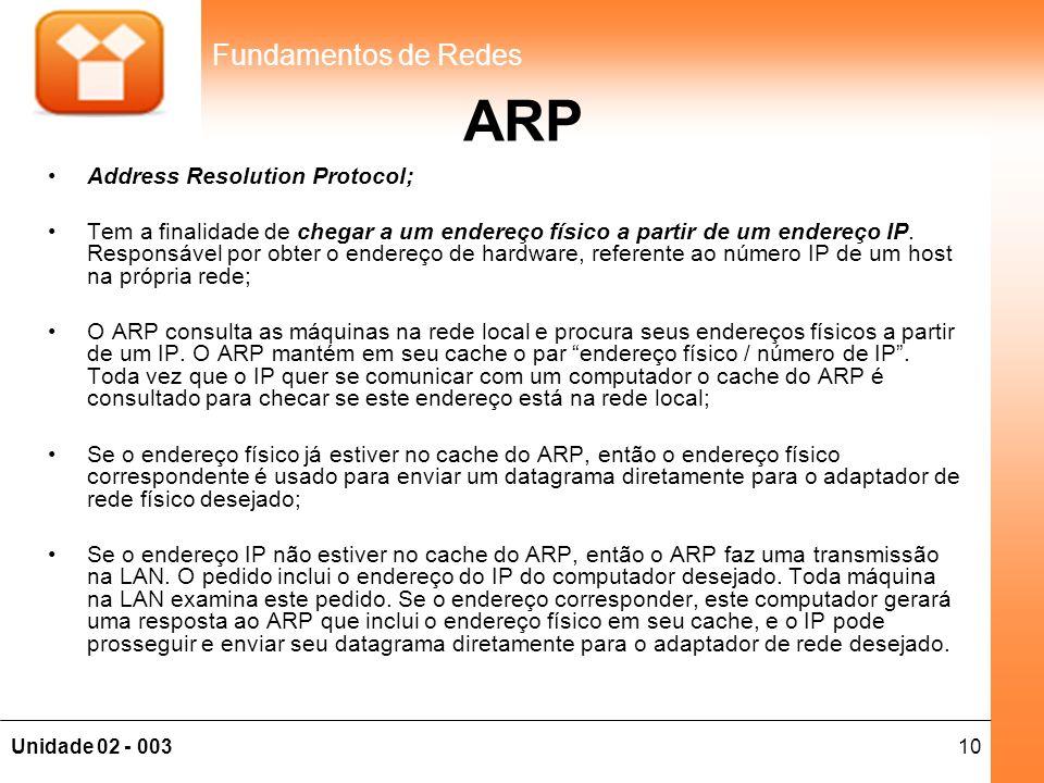 10Unidade 02 - 003 Fundamentos de Redes ARP •Address Resolution Protocol; •Tem a finalidade de chegar a um endereço físico a partir de um endereço IP.