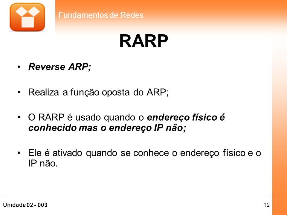 12Unidade 02 - 003 Fundamentos de Redes RARP •Reverse ARP; •Realiza a função oposta do ARP; •O RARP é usado quando o endereço físico é conhecido mas o