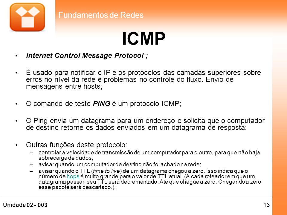 13Unidade 02 - 003 Fundamentos de Redes ICMP •Internet Control Message Protocol ; •É usado para notificar o IP e os protocolos das camadas superiores