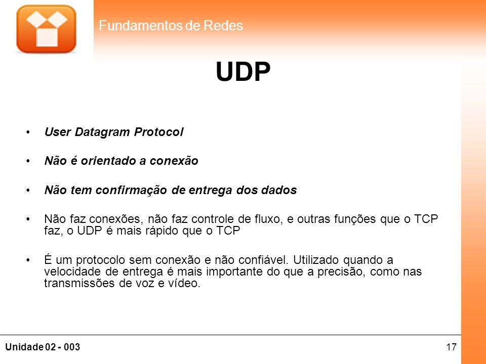 17Unidade 02 - 003 Fundamentos de Redes UDP •User Datagram Protocol •Não é orientado a conexão •Não tem confirmação de entrega dos dados •Não faz cone
