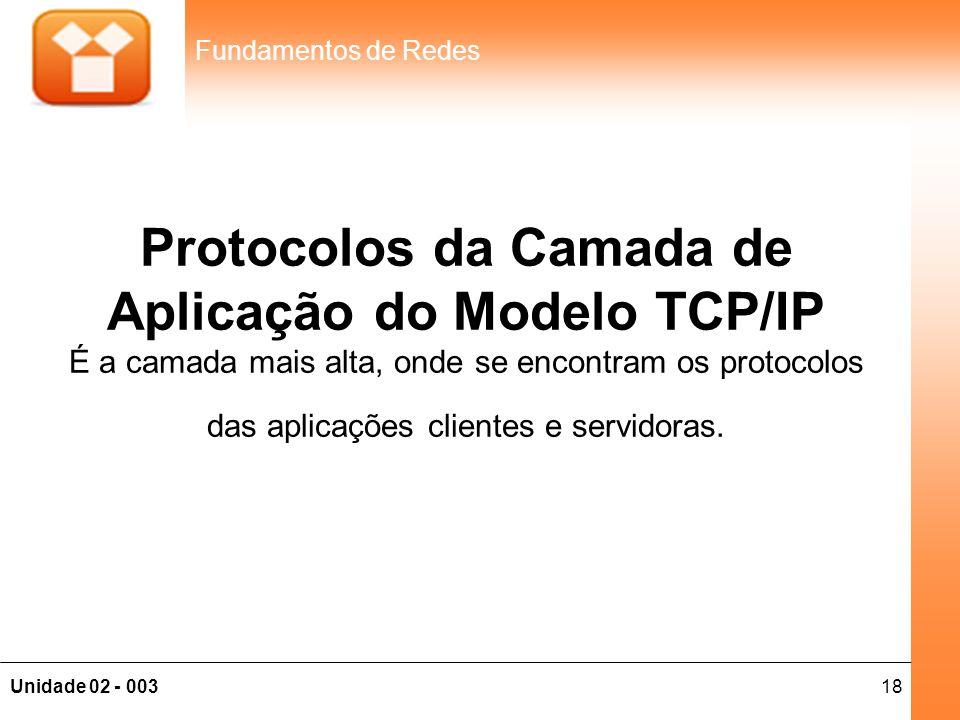 18Unidade 02 - 003 Fundamentos de Redes Protocolos da Camada de Aplicação do Modelo TCP/IP É a camada mais alta, onde se encontram os protocolos das a