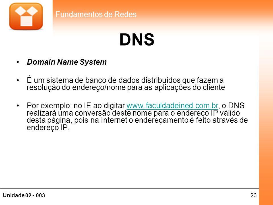 23Unidade 02 - 003 Fundamentos de Redes DNS •Domain Name System •É um sistema de banco de dados distribuídos que fazem a resolução do endereço/nome pa