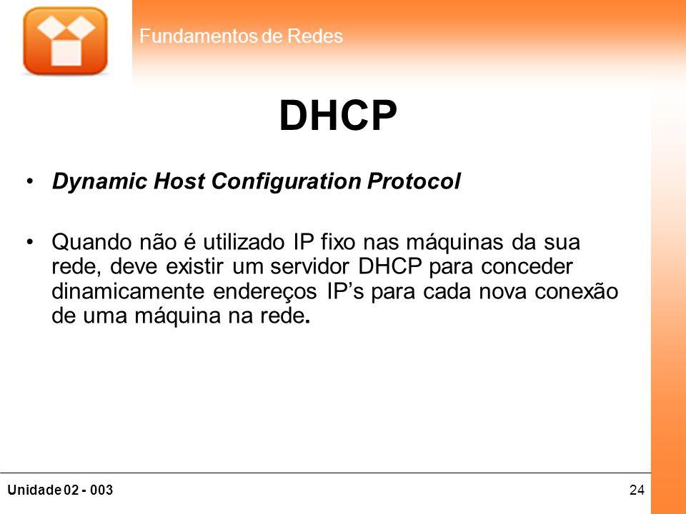 24Unidade 02 - 003 Fundamentos de Redes DHCP •Dynamic Host Configuration Protocol •Quando não é utilizado IP fixo nas máquinas da sua rede, deve exist