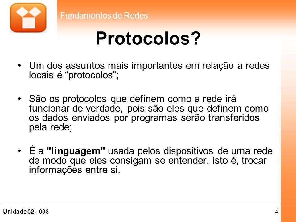 """4Unidade 02 - 003 Fundamentos de Redes Protocolos? •Um dos assuntos mais importantes em relação a redes locais é """"protocolos""""; •São os protocolos que"""