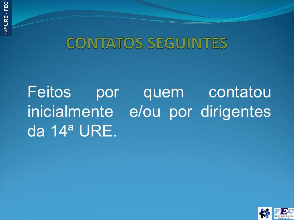 14ª URE - FEC Feitos por quem contatou inicialmente e/ou por dirigentes da 14ª URE.