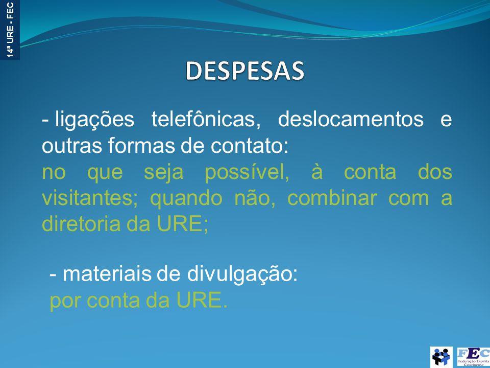 14ª URE - FEC - ligações telefônicas, deslocamentos e outras formas de contato: no que seja possível, à conta dos visitantes; quando não, combinar com a diretoria da URE; - materiais de divulgação: por conta da URE.
