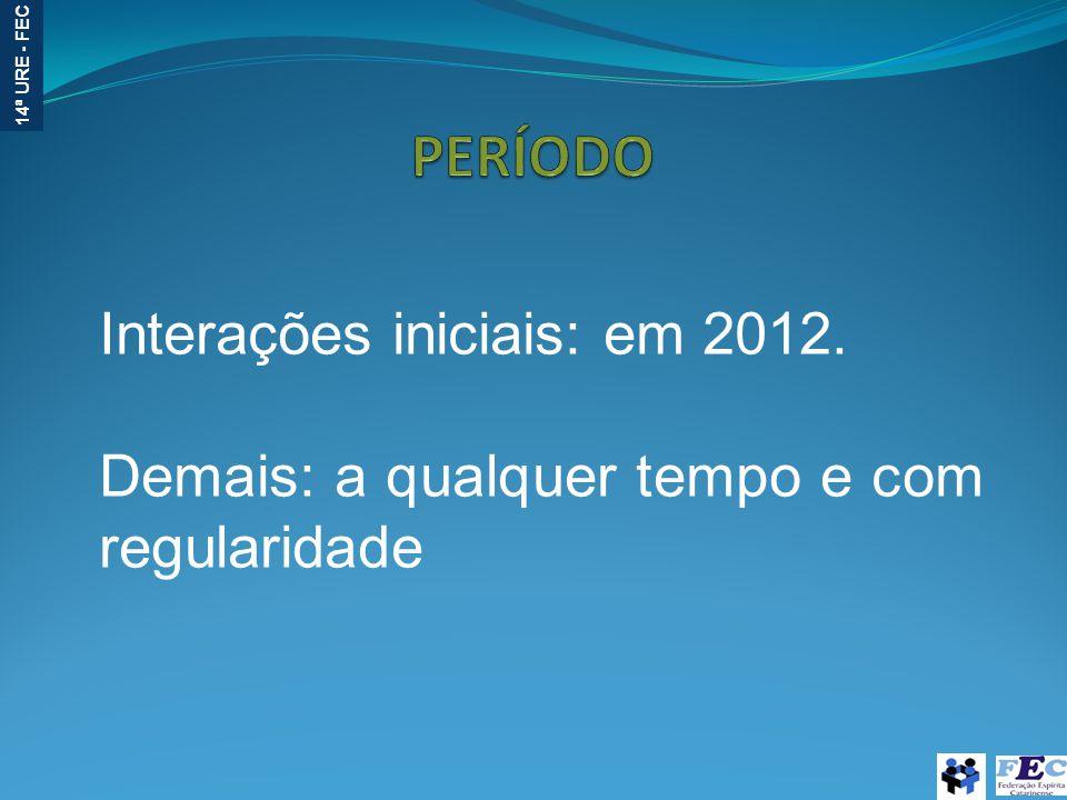 14ª URE - FEC Interações iniciais: em 2012. Demais: a qualquer tempo e com regularidade