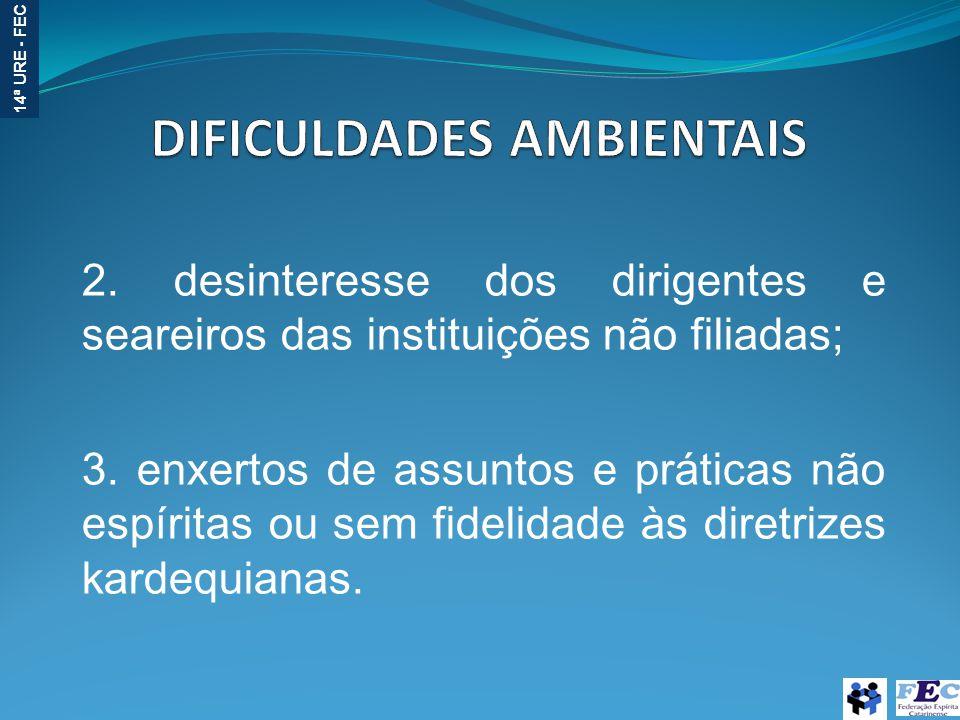 14ª URE - FEC 2. desinteresse dos dirigentes e seareiros das instituições não filiadas; 3. enxertos de assuntos e práticas não espíritas ou sem fideli