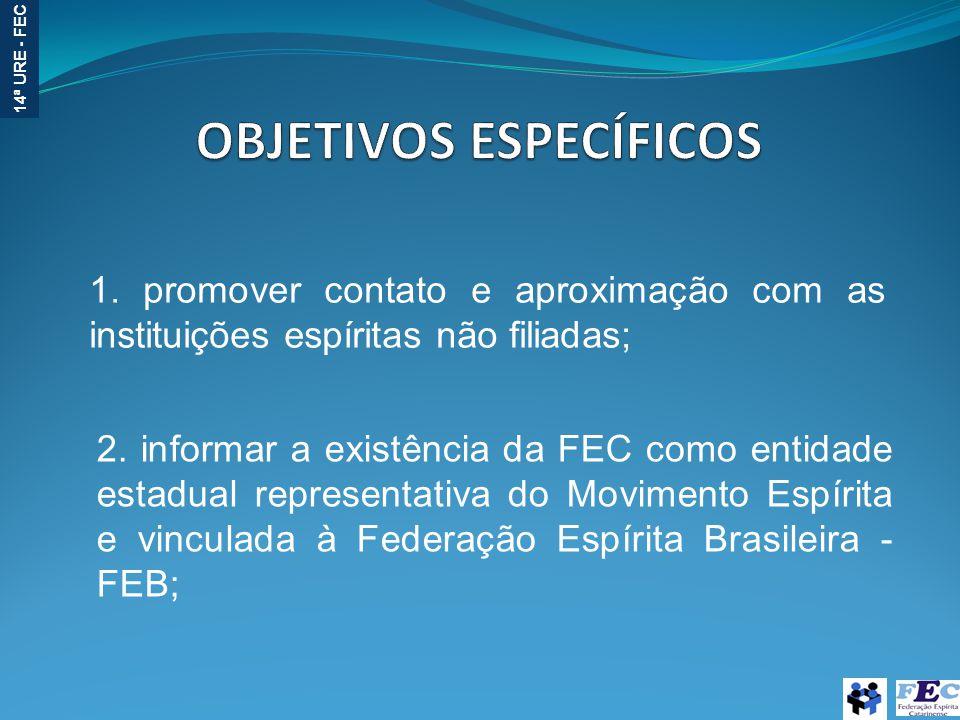 14ª URE - FEC 1. promover contato e aproximação com as instituições espíritas não filiadas; 2. informar a existência da FEC como entidade estadual rep