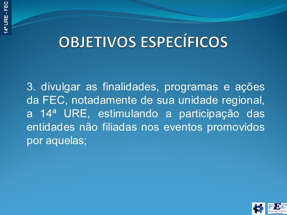14ª URE - FEC 3. divulgar as finalidades, programas e ações da FEC, notadamente de sua unidade regional, a 14ª URE, estimulando a participação das ent