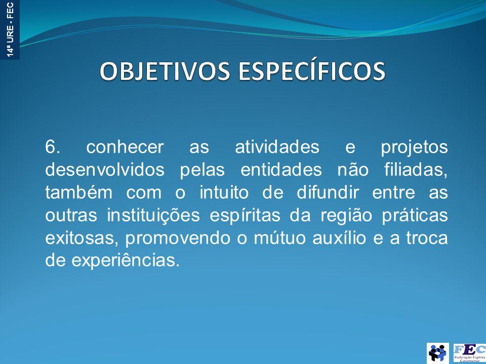 14ª URE - FEC 6. conhecer as atividades e projetos desenvolvidos pelas entidades não filiadas, também com o intuito de difundir entre as outras instit