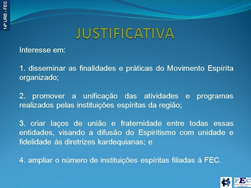 14ª URE - FEC Interesse em: 1. disseminar as finalidades e práticas do Movimento Espírita organizado; 2. promover a unificação das atividades e progra