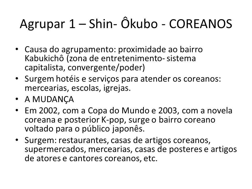 Agrupar 1 – Shin- Ôkubo - COREANOS • Causa do agrupamento: proximidade ao bairro Kabukichô (zona de entretenimento- sistema capitalista, convergente/p