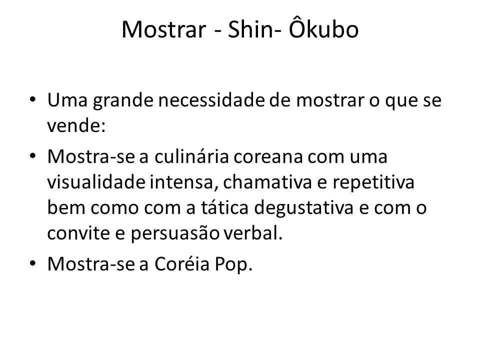 Mostrar - Shin- Ôkubo • Uma grande necessidade de mostrar o que se vende: • Mostra-se a culinária coreana com uma visualidade intensa, chamativa e rep