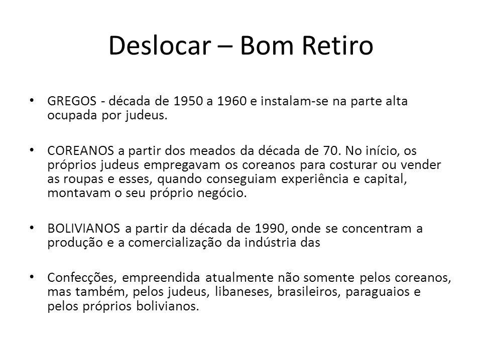 Deslocar – Bom Retiro • GREGOS - década de 1950 a 1960 e instalam-se na parte alta ocupada por judeus. • COREANOS a partir dos meados da década de 70.