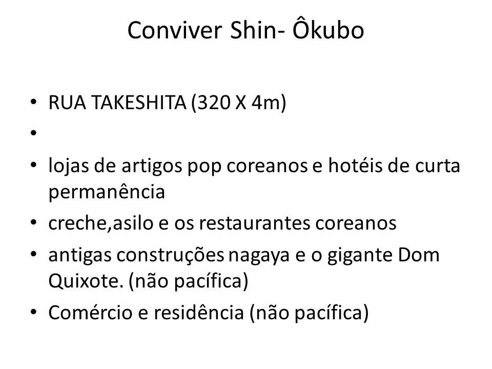Conviver Shin- Ôkubo • RUA TAKESHITA (320 X 4m) • • lojas de artigos pop coreanos e hotéis de curta permanência • creche,asilo e os restaurantes corea