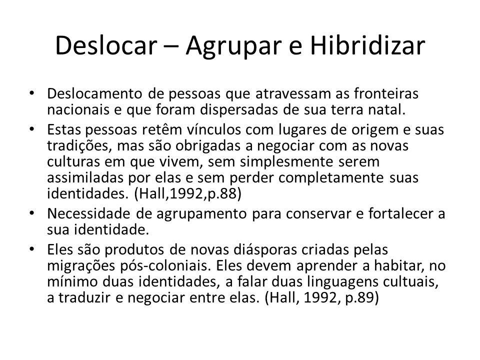 Deslocar – Agrupar e Hibridizar • Deslocamento de pessoas que atravessam as fronteiras nacionais e que foram dispersadas de sua terra natal. • Estas p