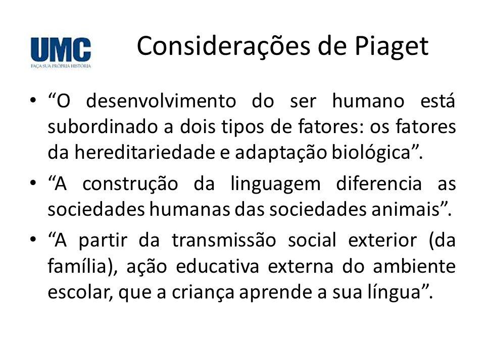"""Considerações de Piaget • """"O desenvolvimento do ser humano está subordinado a dois tipos de fatores: os fatores da hereditariedade e adaptação biológi"""