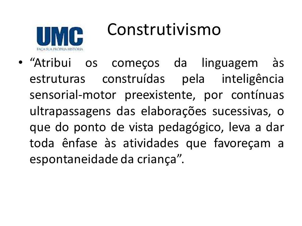 """Construtivismo • """"Atribui os começos da linguagem às estruturas construídas pela inteligência sensorial-motor preexistente, por contínuas ultrapassage"""