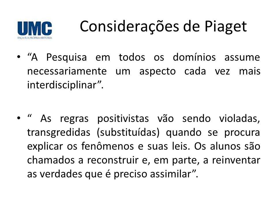 """Considerações de Piaget • """"A Pesquisa em todos os domínios assume necessariamente um aspecto cada vez mais interdisciplinar"""". • """" As regras positivist"""