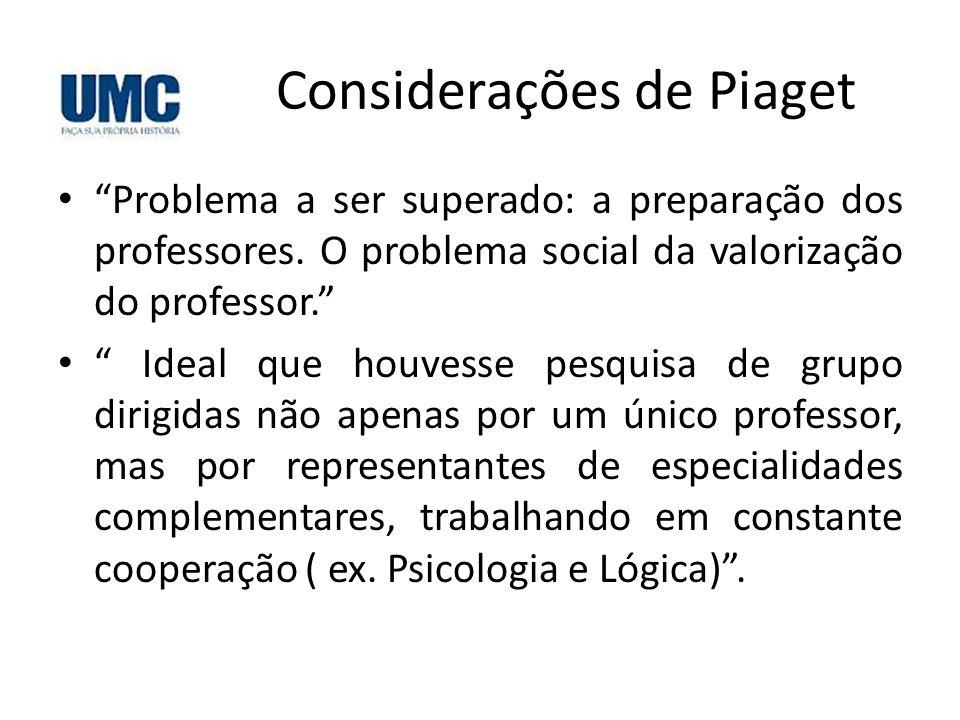 """Considerações de Piaget • """"Problema a ser superado: a preparação dos professores. O problema social da valorização do professor."""" • """" Ideal que houves"""
