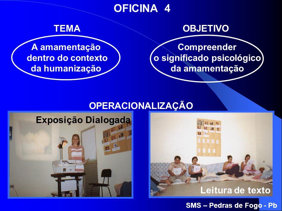 A amamentação dentro do contexto da humanização Compreender o significado psicológico da amamentação TEMAOBJETIVO OFICINA 4 OPERACIONALIZAÇÃO SMS – Pe