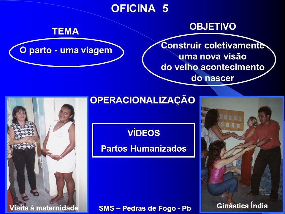 O parto - uma viagem Construir coletivamente uma nova visão do velho acontecimento do nascer OFICINA 5 TEMA OBJETIVO OPERACIONALIZAÇÃO Visita à matern