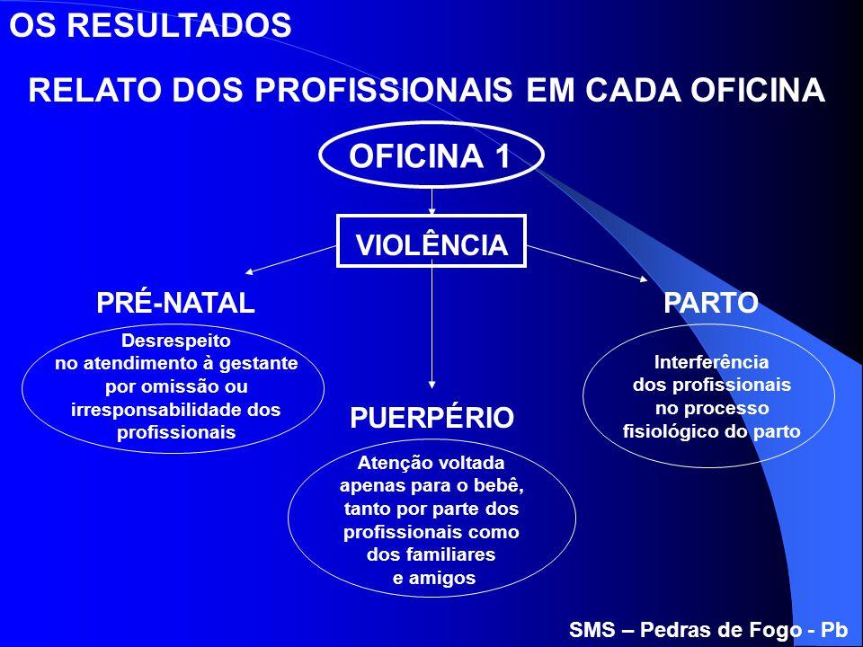 RELATO DOS PROFISSIONAIS EM CADA OFICINA OFICINA 1 VIOLÊNCIA Desrespeito no atendimento à gestante por omissão ou irresponsabilidade dos profissionais