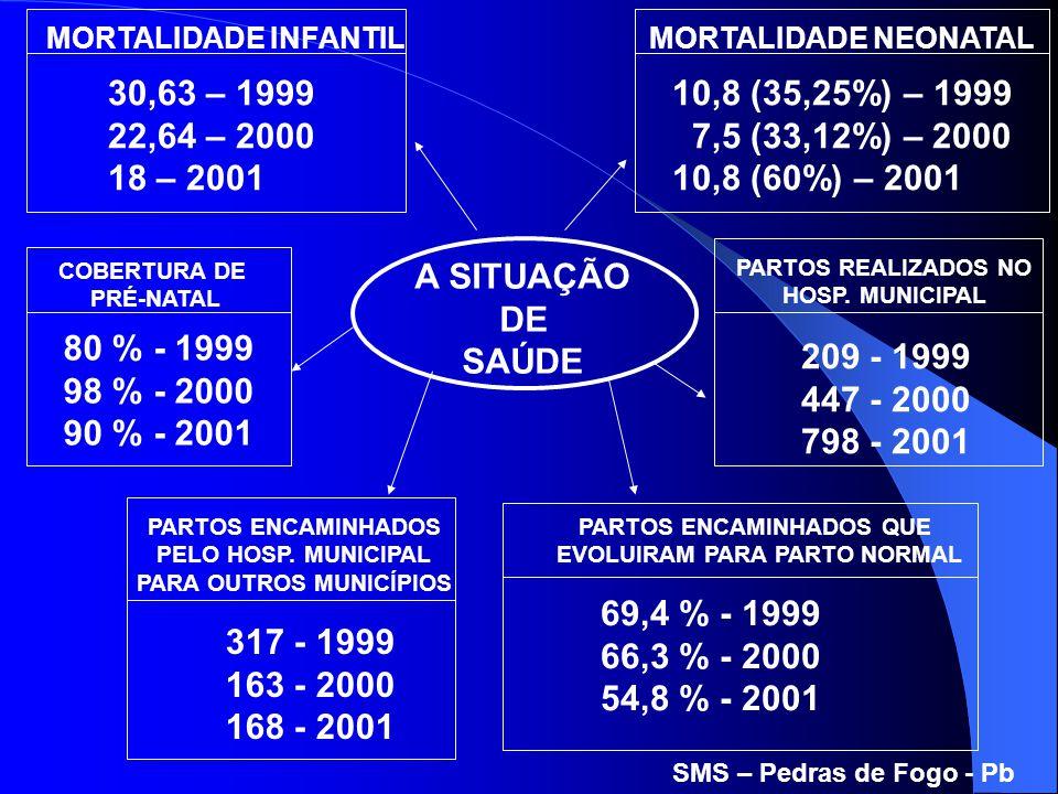 A SITUAÇÃO DE SAÚDE MORTALIDADE INFANTIL 30,63 – 1999 22,64 – 2000 18 – 2001 MORTALIDADE NEONATAL 10,8 (35,25%) – 1999 7,5 (33,12%) – 2000 10,8 (60%)