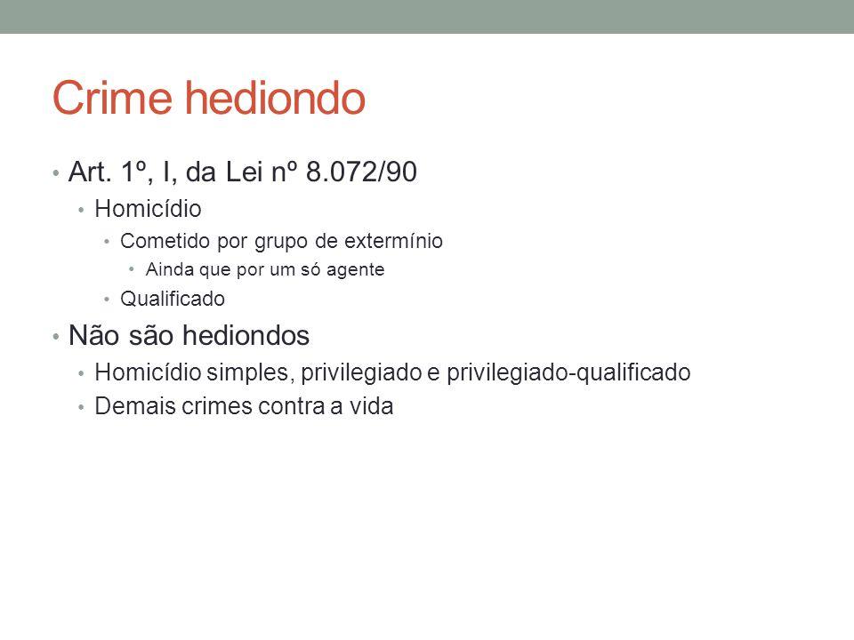 Crime hediondo • Art. 1º, I, da Lei nº 8.072/90 • Homicídio • Cometido por grupo de extermínio •Ainda que por um só agente • Qualificado • Não são hed