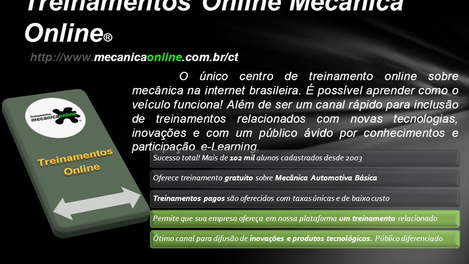 O único centro de treinamento online sobre mecânica na internet brasileira. É possível aprender como o veículo funciona! Além de ser um canal rápido p