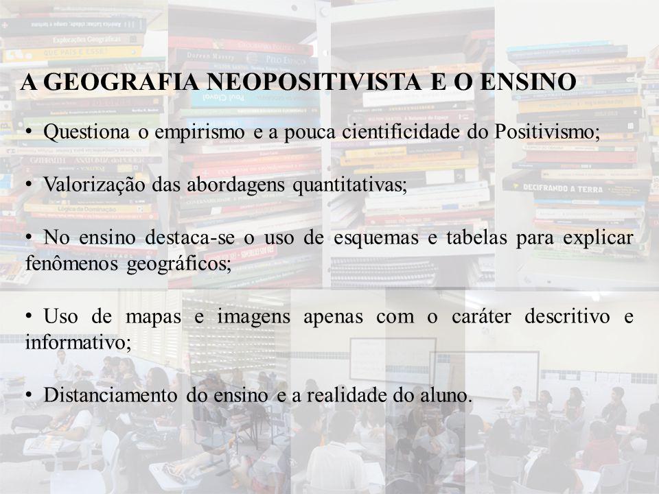 • Questiona o empirismo e a pouca cientificidade do Positivismo; • Valorização das abordagens quantitativas; • No ensino destaca-se o uso de esquemas