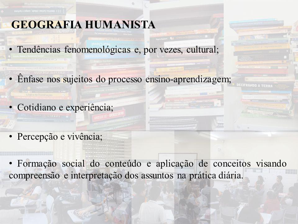 • Tendências fenomenológicas e, por vezes, cultural; GEOGRAFIA HUMANISTA • Cotidiano e experiência; • Percepção e vivência; • Ênfase nos sujeitos do p