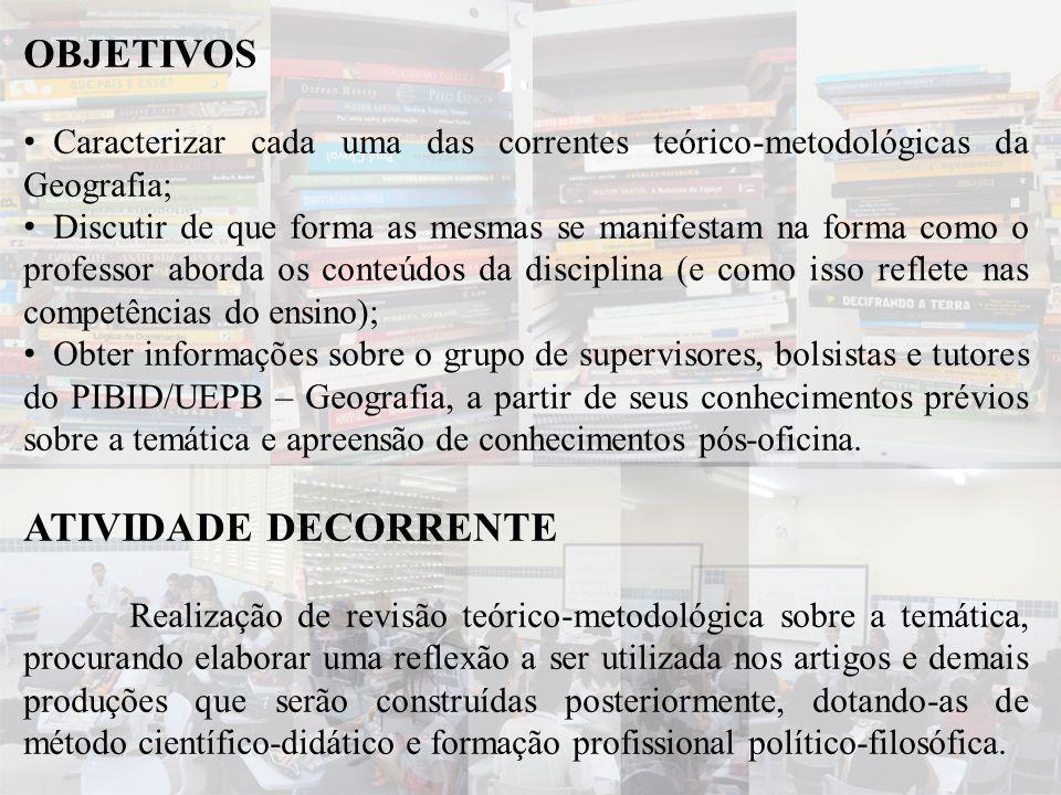 OBJETIVOS • Caracterizar cada uma das correntes teórico-metodológicas da Geografia; • Discutir de que forma as mesmas se manifestam na forma como o pr
