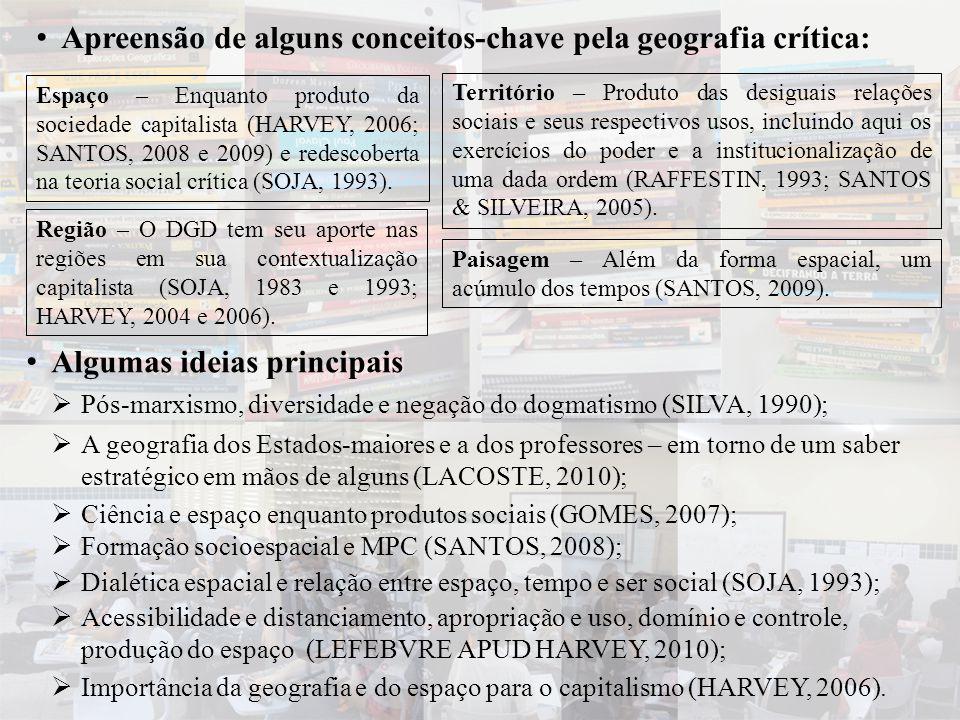 • Apreensão de alguns conceitos-chave pela geografia crítica: Espaço – Enquanto produto da sociedade capitalista (HARVEY, 2006; SANTOS, 2008 e 2009) e