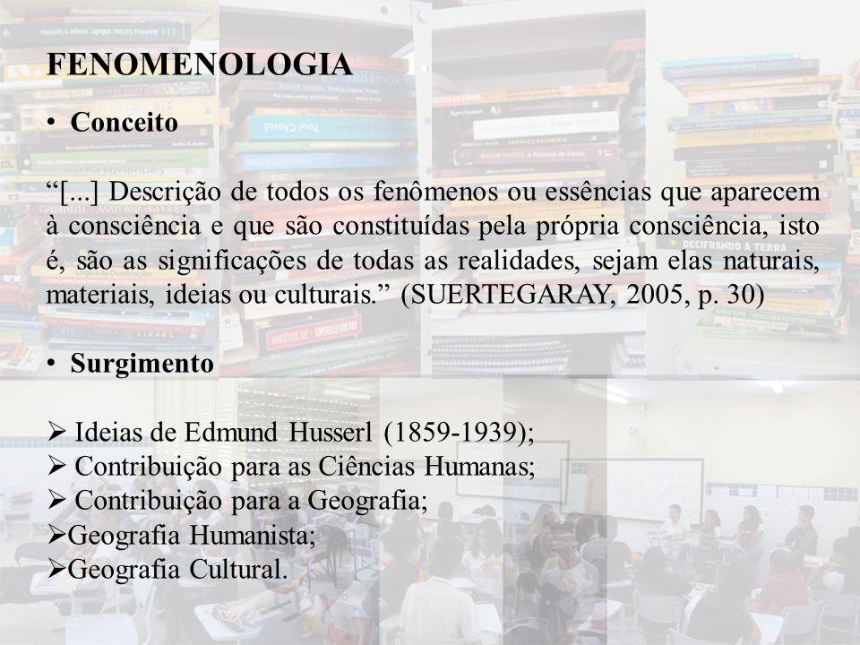 """FENOMENOLOGIA • Conceito """"[...] Descrição de todos os fenômenos ou essências que aparecem à consciência e que são constituídas pela própria consciênci"""